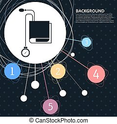 Tonometer-Ikone. Blood Pressure Checker mit Hintergrund zum Punkt und infographischen Stil. Vector