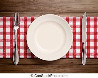 Top Aussicht auf leere Teller mit Löffel und Messer.