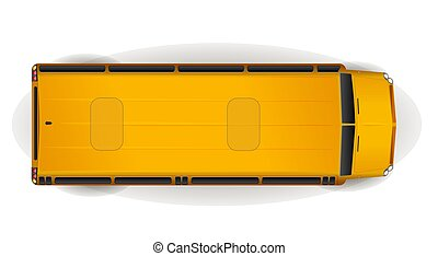 Top View of bright yellow realistisch school bus on white.