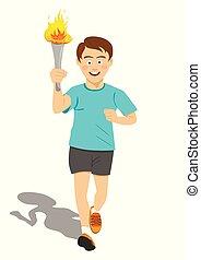Torchbearer Athlet in blauer Lauf mit Sportbrenner in Bewegung.