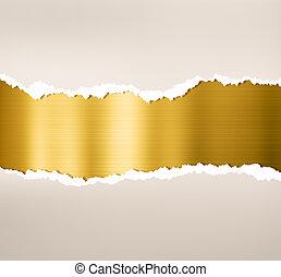 Tornpapier mit goldenem Metallblech.