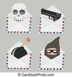 totenschädel, dieb, innenseite, bombe, satz, weißer umschlag, gewehr