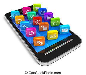touchscreen, anwendung, heiligenbilder, smartphone