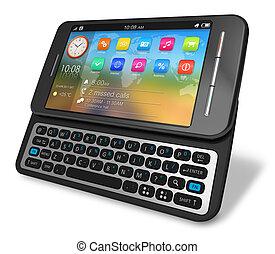 touchscreen, seite, schieber, smartphone