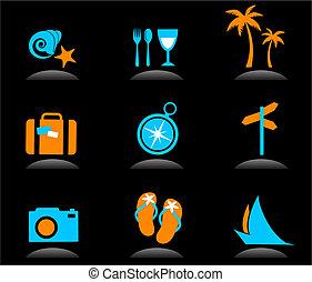 Tourismus und Urlaubs-Ikonen und Logos - 3