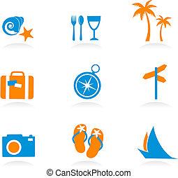 Tourismus und Urlaubs-Ikonen und Logos - zwei