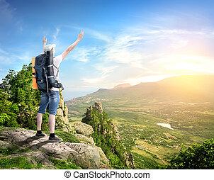 Tourist in den Bergen