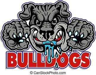Trödelnde Bulldogge mit Klauen