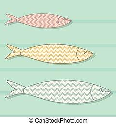Traditionelles portuguese Icon. Farbige Sardinen mit geometrischen Chevronmustern aus Holz. Fischvektorgrafik