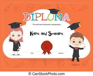 tragen, junge, stil, kinder, bunte, bescheinigung, kappe, diplom, studienabschluss, akademisch, schablone, m�dchen, kleiden, karikatur
