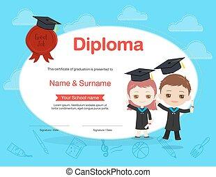 tragen, junge, stil, kinder, bunte, bescheinigung, kappe, diplom, studienabschluss, akademisch, besitz, m�dchen, kleiden, karikatur, schablone