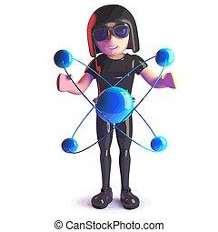 tragen, leder, studieren, catsuit, gotische , atom, quantum, nuklear, m�dchen, karikatur, 3d