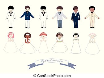 tragen, sechs, mädels, sammlung, kommunion, zuerst, kinder, kleidung
