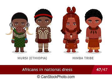 tragen, traditionelle , maenner, frauen, äthiopien, tribe., national, dress., ethnisch, satz, costume., leute, mursi, afrikanisch, himba