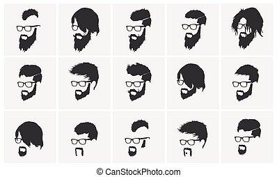 tragen, volles gesicht, frisuren, bart schnurrbart, brille