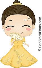 tragen, wenig, filipina, baro't, national, kostüm, saya, m�dchen