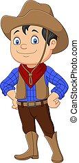 tragen, westlich, karikatur, cowboy, kind, kostüm