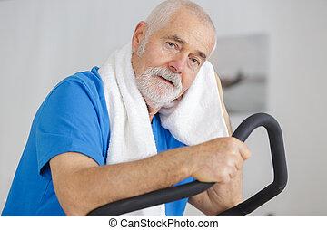 trainieren, mann, stepper, klub, gesundheit, attraktive, älter