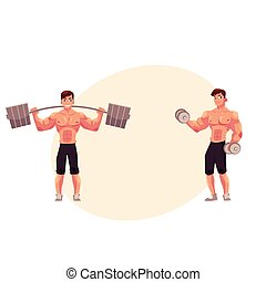 training, arbeitende , bodybuilder, hantel, hantel, heraus, weightlifter, mann