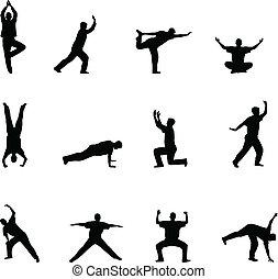 Training und Yoga-Silhouette