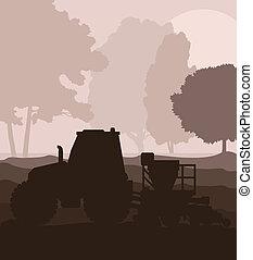 Traktor und Saatgut anpflanzen auf einem Feldvektor