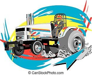 Traktor zieht.