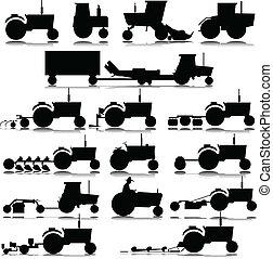 Traktorvektor-Silhouettes