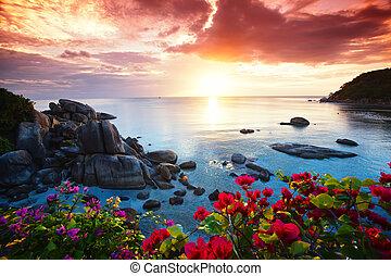 Tranquil Strand Resort, schöne Morgen Herrlichkeit auf dem Koh Samui.