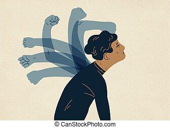 Transluzente Geisterhand, die Menschen schlagen. Konzept der psychologischen Selbstbeschädigung, Selbstbestrafung, Selbstentlastung, Selbstkräftigung. Farbige Vektorgrafik im modernen flachen Stil.
