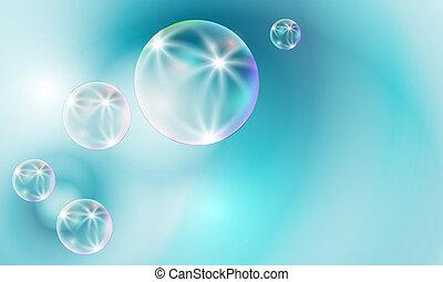 Transparente Blasen auf blauem Hintergrund.