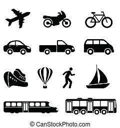 Transport-Ikonen in Schwarz