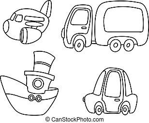 transport, satz, umrissen, karikatur
