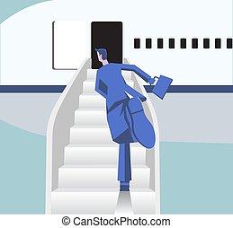 transportation., eben, flugzeug., abbildung, wohnung, luft, brett, idee, eile, vektor, läufe, flughafen., mann