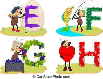 trauben, e, briefe, englisches , insekt, f, reizend, ei, kinder, g, fische, alphabet, h., herz, lernen, ameise, lustiges, hilft