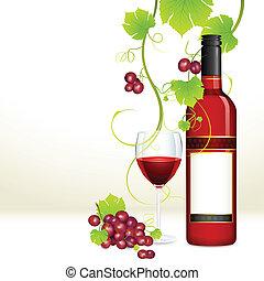 Trauben mit Weinflasche und Glas.