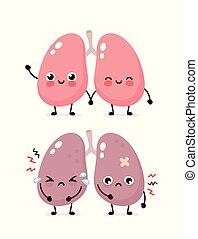Traurig leidende kranke süße und gesunde glückliche Lungen