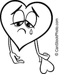 Traurige, gebrochene Herzfarbe Seite.
