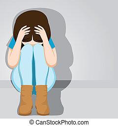 Traurige verzweifelte Teenagerin.