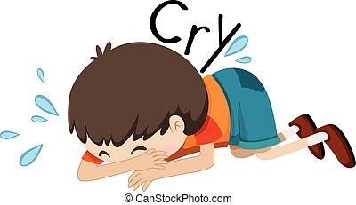 Trauriger Junge, der allein weint.
