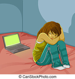 Trauriges Mädchen mit Laptop.
