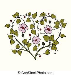 Tree Ast in Form eines Herzens. Element für den Designbaum