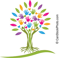 Tree colorful hands and hearts logo.