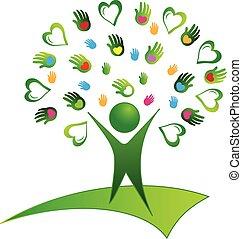 Tree grüne Hände Logo.