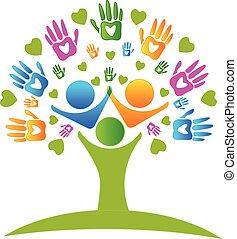 Tree Hände und Herzen Figuren Logo.