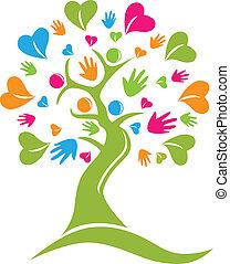 Tree Hände und Herzen Figuren Logo Icon Vektor.