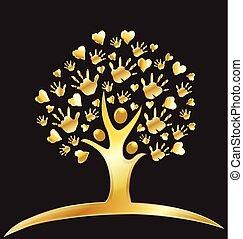 Tree Hände und Herzen Gold Logo.