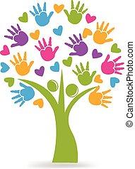 Tree Hände und Herzen Logo.