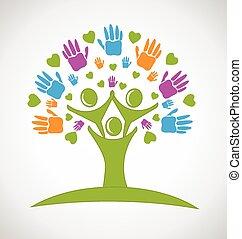 Tree Hände und Herzen Menschen Logo.