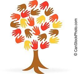 Tree Hand Einheit Menschen Logo