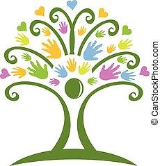 Tree hands Kinderbetreuung Logo.